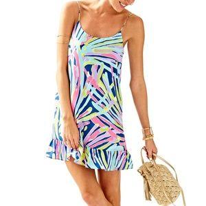 Lilly Pulitzer Zanna 100% Silk Indigo Sea Dress L